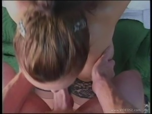 Cock sucking babe in POV gets her face cum splashed
