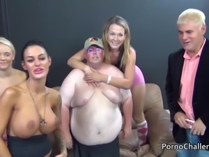 Lucky winner to get with 3 chicks is an obese fat guy