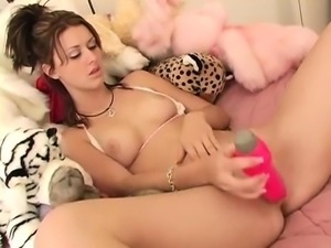 Brunette masturbate to complete climax with dildo