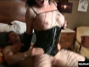 Kinky chick in fishnets is ready for all sorts of hardcore fucking