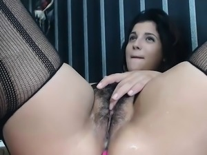 Puffy hairy brunete squirts and cam-girl masturbating