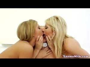 Bigtitted enema babes use chocolate in trio