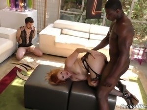 Redhead hot white babe dominates and humiliates two white men