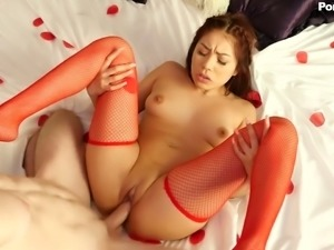 Lovely and hot Asian redhead babe fed with white dick and boned on the bed