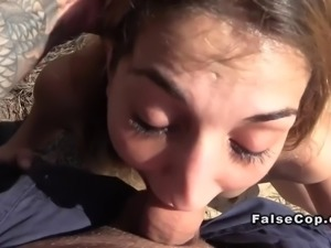 Babe sucked cops big dick on the beach pov