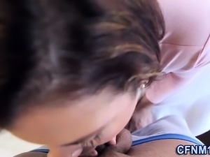 Real clothed slut cumshot