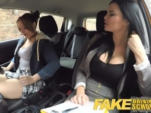 Fake Driving School Daddys girl fails her test with MILF
