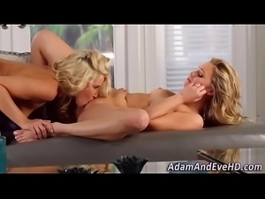 Lesbo blondes in lingerie