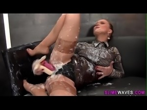 Glam babe riding dildo