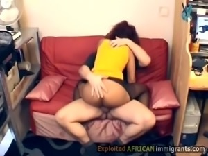 Black babe goes wild riding a white man