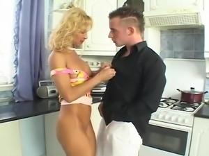 Fuck Blond Milf In The Kitchen