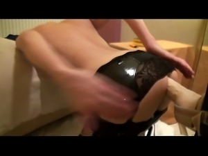 latex sexy lingerie asshole dildo insertion fucking and gaping (1)
