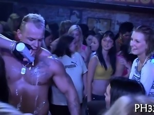 Two blond waiters leaking puss and fucking one slut wildly