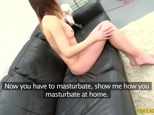 nubile babe jessica deepthroats the fake agent's fat cock