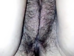 Hairy pussy and sexy feet
