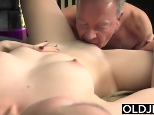 Her Young Pussy Gets Fucked By Old Man and Gets Cum On Tits