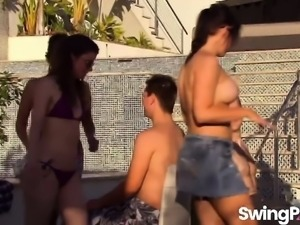 Swingers having party outdoors in reality show