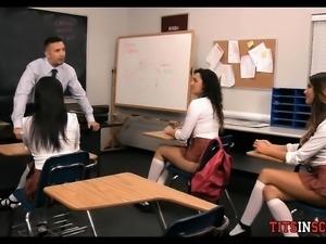 Big boob Brunette Babe Schoolgirl Fantasy in Class