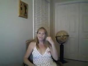 Hot blonde MILF masturbates on webcam