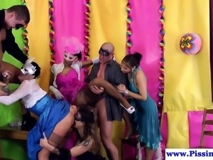 Glamorous pissing babes doggystyled in group
