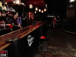 Cute brunette chick is served a giant cock instead of drinks