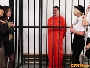 Cockhungry cfnm milfs sucking prisoners cock