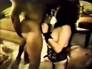 brunette slut takes a nice big dick in threesome game