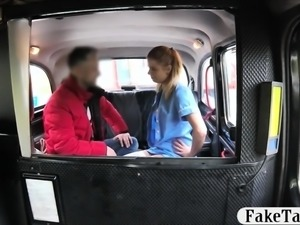 Blond passenger gets fucked by nasty driver in the taxi