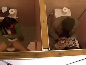 Young Girl and Older Man Have Sex in Public Toilet