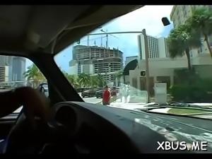 Guy picks up a honey for car sex