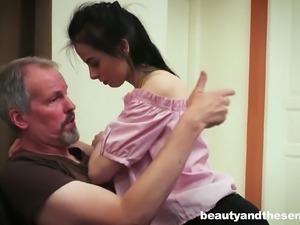 Skinny Vera with small tits cock riding hardcore in the kitchen