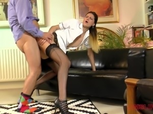 After grabbing Eva Johnson her fuck buddy wastes her wet pussy
