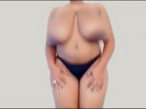 Sexy Ebony with Huge Tits Tittyfucks Dildo