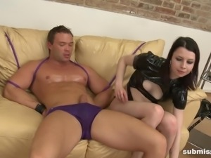 Pale brunette Deliah loves teasing a tied up hunk with her body