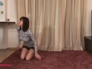 Awesome flexible Dannie does splits while riding her favorite dildo