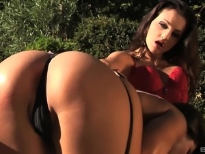 Zafira Klass and Aletta Ocean hook up on a bench for a licking session