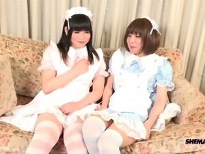 Two cute Japanese shemales pounding each other while wearing costumes