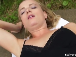 Blonde shaved pussy logged hardcore while in clothes
