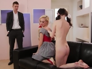 Lyra Law and Lana Adams being watched by a hunk while making out