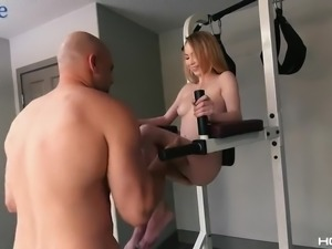 Sporty buxom giggling hoe Angel Smalls goes almost crazy while fucking