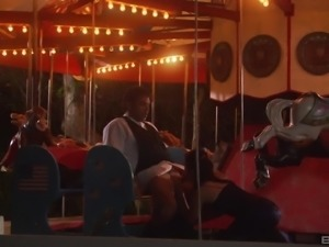 Splendid reverse cowgirl ride with his beautiful Dominica Leoni
