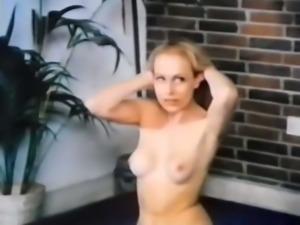 Sweet lean pale skin blonde babe gives vintage blowjob