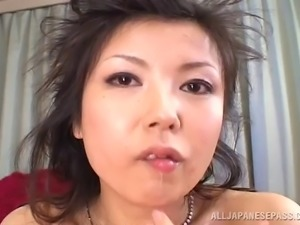 Squirting Japanese cunt is all wet for two hard dicks