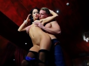 Elegant slut Megan Coxxx spreads her legs for a horny stallion