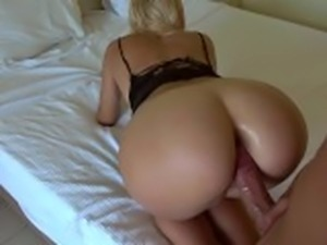 Grinding, sloppy bj, handjob, anal fingering and cumshot on ass in hotel