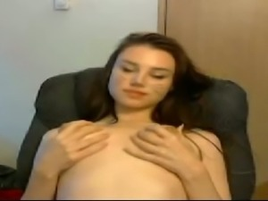 Pale skinned hottie masturbating with big sex toy