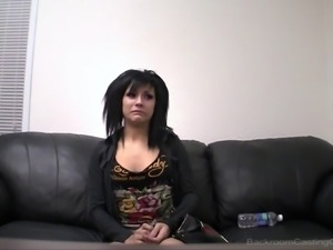 Skinny Devon having her pussy demolished during her casting