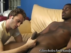 White gay guy is curious about a black hunk's big boner