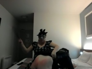 Perverted chubby bitch slaps her crossdresser hubby's butt hard