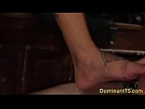 Busty latina TS dominates over muscular hunk